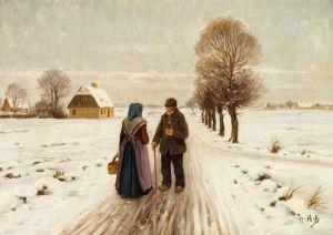 Брендекильде Ганс Андерсен Зимний пейзаж с пожилой парой на дороге