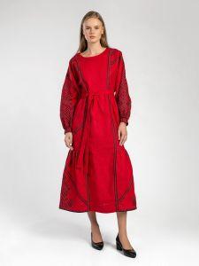 Жіночі вишиванки ручної роботи  Червона лляна сукня з геометричною вишивкою Akai