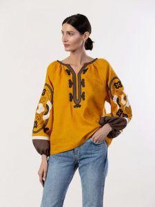 ЕтноДім Жовта блузка з рослинним орнаментом Sunny