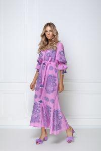 Одежда из льна «Виктори Шик» розовое платье-макси