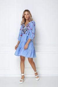 """Вишиті плаття """"Омелiя"""" блакитна мiнi-сукня"""