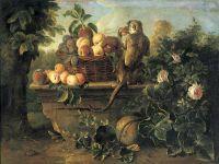 Натюрморт с обезьяной и корзиной с фруктами