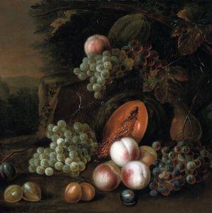 Штрановер Тобиас Круг. Натюрморт с фруктами в пейзаже