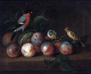 Штрановер Тобиас Натюрморт с фруктами и птицами 2