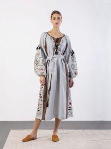 Вышиванки ручной работы Льняное вышитое платье свободного кроя Barvinok