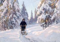 Зимний мотив с мальчиком на финских санях