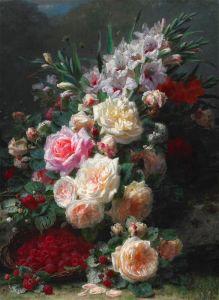 Роби Жан-Батист Натюрморт гладиолусы, розы и малина