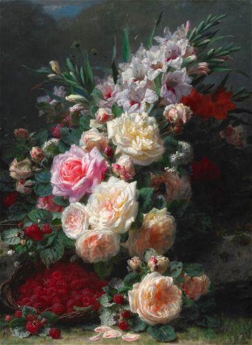 Натюрморт гладиолусы, розы и малина
