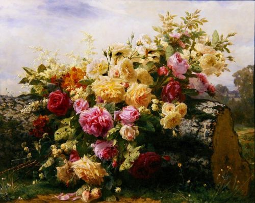 Натюрморт розы на стволе сваленного дерева - изображение 1