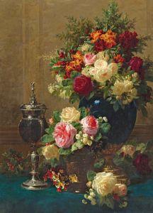 Роби Жан-Батист Натюрморт из цветов с кубком из кокоса на столе