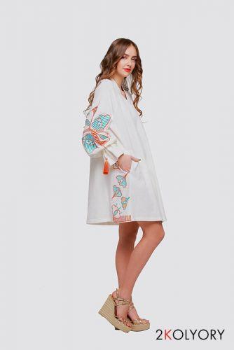 """Сукня туніка вишиванка """"Первоцвіт"""" молочна"""