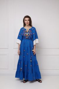 Модная женская одежда «Омелия Шик» синее платье-макси