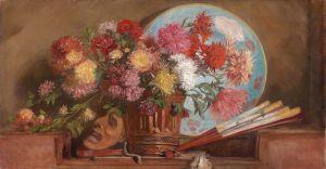 Шарлемон Гуго Натюрморт с астрами и георгинами в вазе, маской и веером
