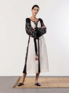 ЕтноДім Лляна сукня вільного крою в бохо стилі Cometa black