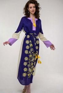 Платье вышиванка ручной работы Вышитое платье Луга фиолет