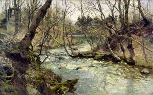 Таулов Фриц Лесной пейзаж с ручьем