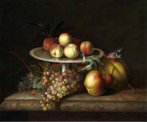 Барокко Натюрморт с фруктами и серебряной таццой