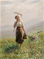 Молодая женщина на лугу