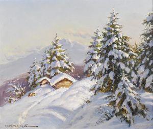 Печатные картины на холсте Зимний пейзаж №2