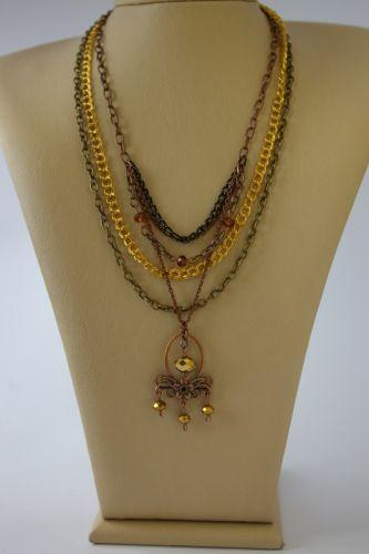 Ожерелье из цепочек и стеклянных бусин №2