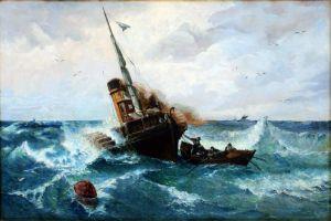 Ахенбах Андреас Колесный пароход в бушующем море