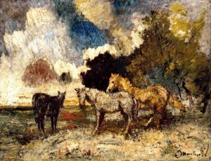 Печатные картины на холсте Три лошади