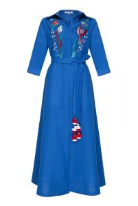 """Вишиті сукні """"Квезаль"""" синя максі сукня"""