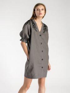 Купить вышиванку в Киеве Графитовое льняное платье-кардиган Grace