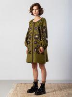Вышитое платье болотного цвета с широкими рукавами Marsh