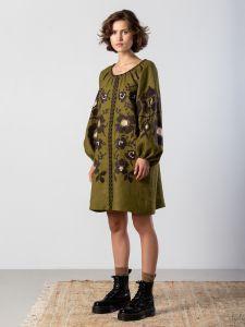 Жіночі вишиванки ручної роботи  Вишита сукня болотного кольору з широкими рукавами Marsh