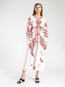 Біла лляна сукня з геометричною вишивкою Borodina