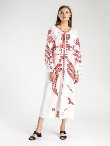 Белое льняное платье с геометрической вышивкой Borodina