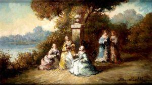 Придворные дамы в костюмах барокко