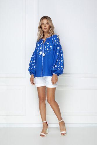 «Жемчужина» синяя ювелирная блуза
