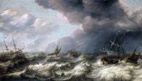 Голландские и английские корабли в бурном море