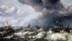 Барокко Голландские и английские корабли в бурном море