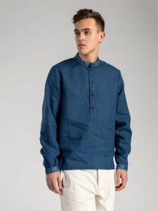 Мужские вышиванки Cиняя льняная рубашка с вышивкой на воротнике ED9
