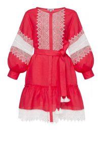 """Платье вышиванка ручной работы """"Сильвия"""" розовое платье-мини"""