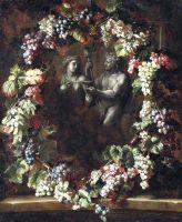 Венок из винограда, окружающий статуи Вакха и Цереры