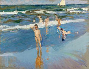 Соролья Хоакин Дети в море на пляже в Валенсии
