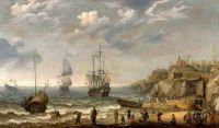 Голландский мановар и др суда у берега с группой гуляк на берегу