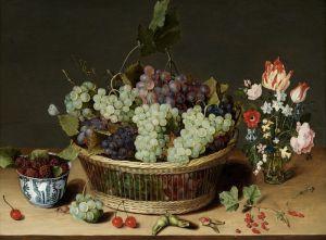 Соро Исаак Натюрморт с виноградом в корзине, малиной в фарфоровой чашке и цветами в стеклянной вазе