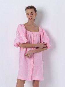 Платье вышиванка ручной работы Льняное платье розового цвета Holly
