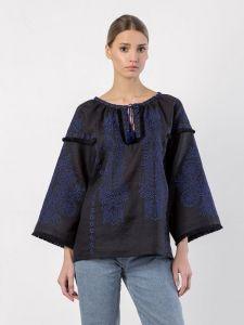 Вышиванки ручной работы Черная вышитая блузка BLACK PEARL