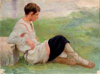 Сидящий мальчик в крестьянской одежде