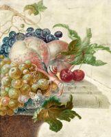 Натюрморт с фруктами, улиткой и бабочкой на каменном выступе