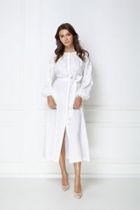 Одежда из льна «Жемчужина» белое ювелирное платье