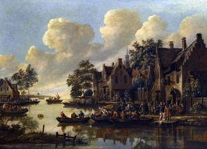 Хереманс Томас Речной пейзаж с деревней на берегу реки и фигурами у таверны