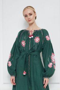 """Вышиванки ручной работы """"Камелия"""" зеленое платье"""