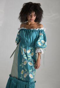 Платье вышиванка ручной работы Вышитая платье Бережанка морская волна